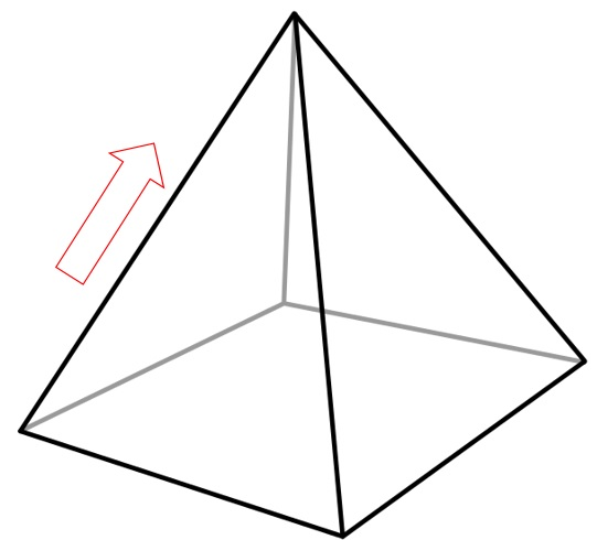 pyramid with arrow