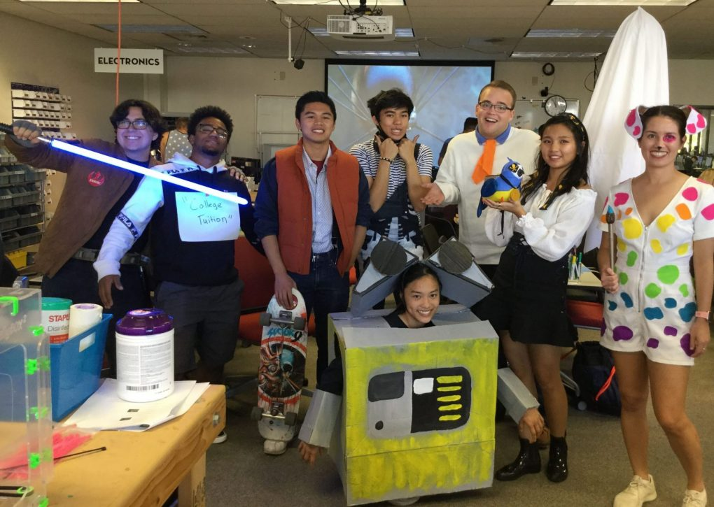 Group of students dressed for halloween